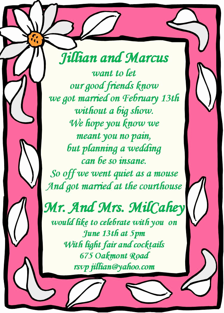After Party Invitation Wording Best Of Elopement Party Invitations Reception Ly Invitations