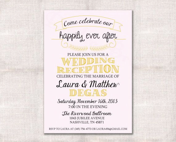 After Party Invitation Wording Lovely Wedding Reception Celebration after Party Invitation