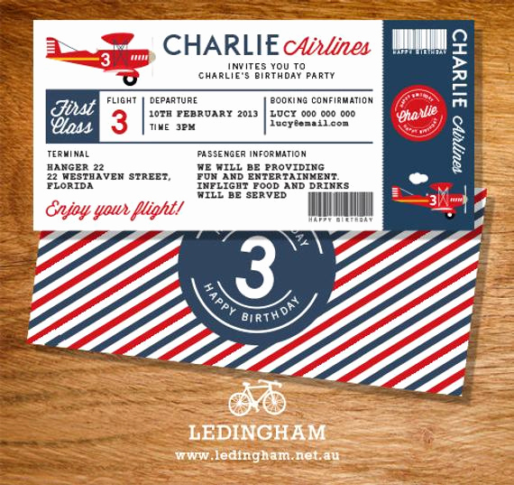 Airline Ticket Invitation Template Best Of Airline Plane Ticket Birthday Invitation by Ledinghamshop