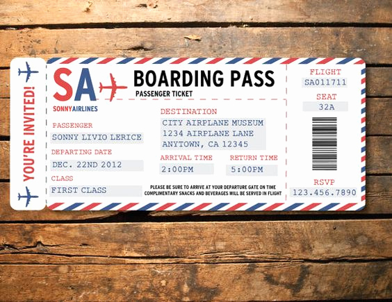 Airline Ticket Invitation Template Best Of Printable Airplane Airline Birthday Party Baby Shower