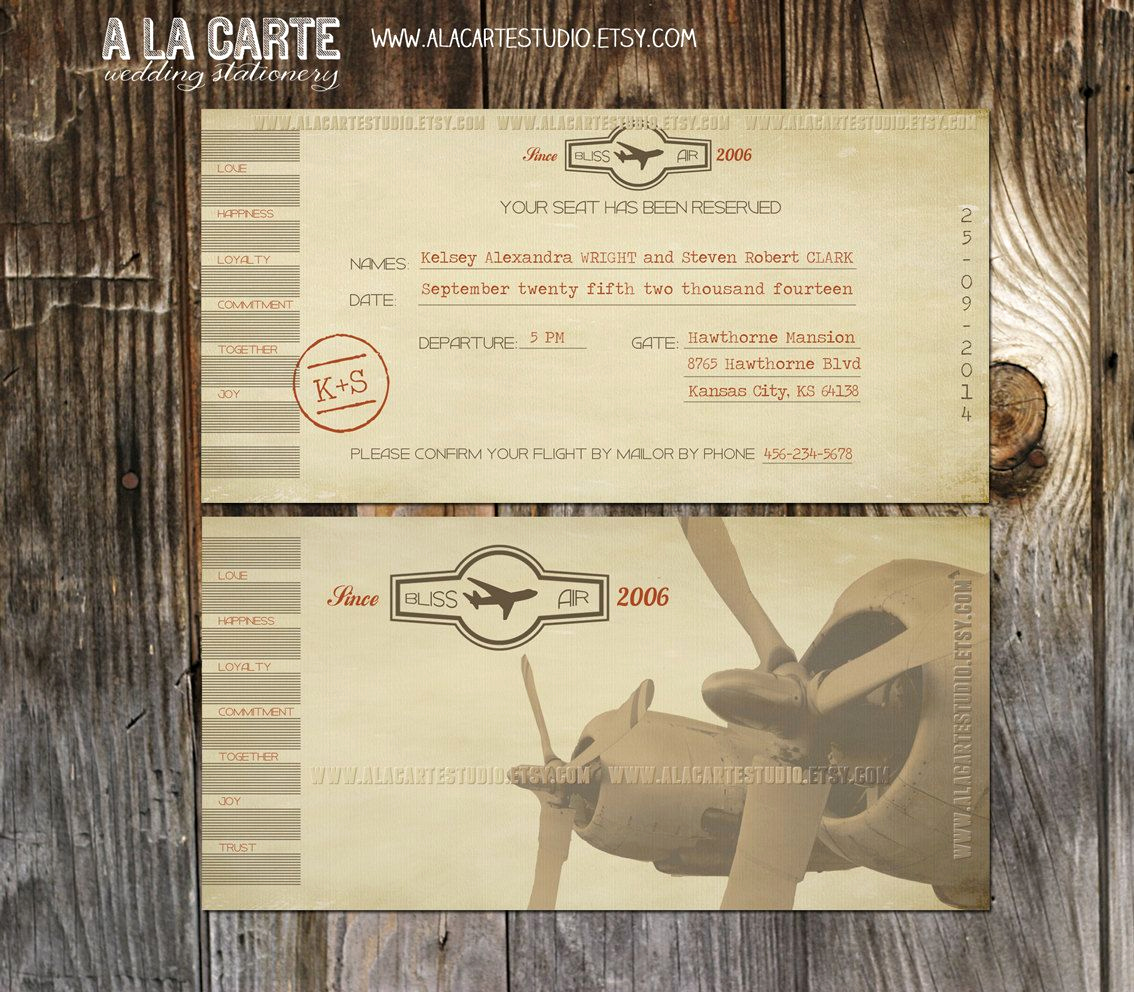 Airline Ticket Invitation Template Best Of Vintage Airline Ticket Invitation Destination Wedding