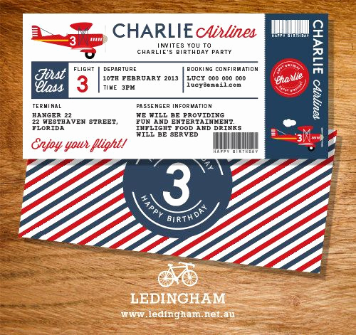 Airline Ticket Invitation Template Elegant Airline Plane Ticket Invitation Bunting Flags Cupcake