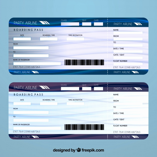 Airline Ticket Invitation Template Elegant Airline Ticket Template Vector