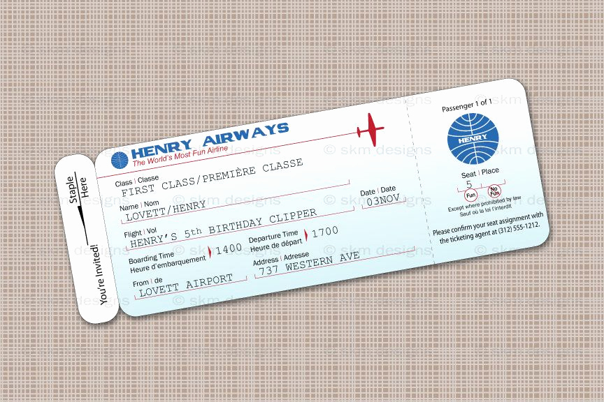 Airline Ticket Invitation Template Fresh Modern Airplane Birthday Party Airline Ticket Invitation