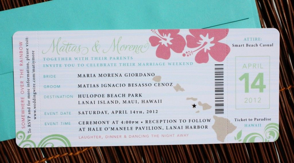 Airline Ticket Invitation Template Fresh Pink Green & Turquoise Swirl and Hibiscus Airline Ticket