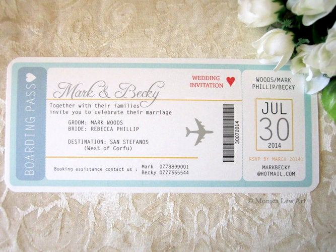 Airline Ticket Invitation Template Fresh Sample Invite – Plane Ticket Destination Wedding