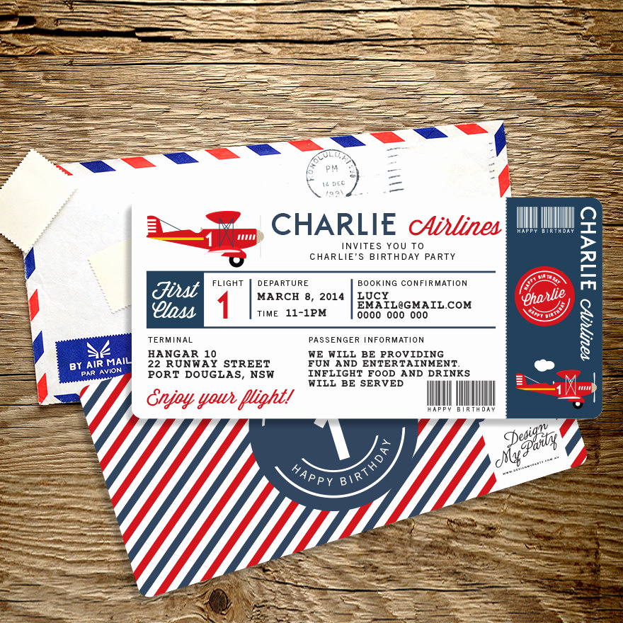 Airline Ticket Invitation Template Lovely Airline Plane Ticket Birthday Invitation by Designmypartyshop