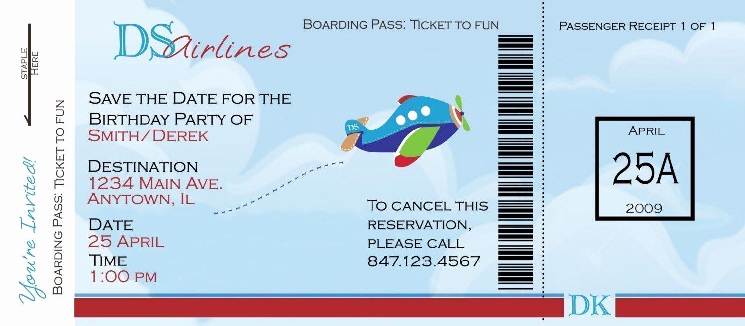 Airline Ticket Invitation Template Lovely Airplane Boarding Pass Birthday Invitation