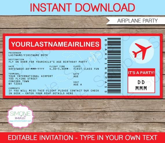 Airline Ticket Invitation Template Luxury Airplane Boarding Pass Invitation Airplane Invitation