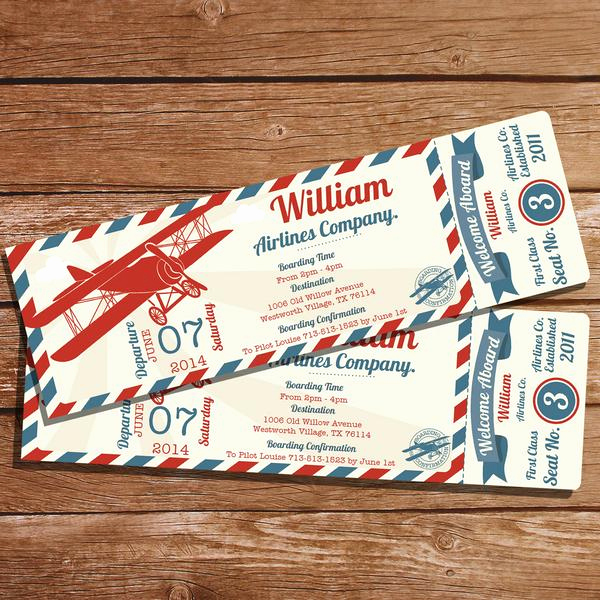 Airline Ticket Invitation Template Luxury Vintage Airplane Ticket Party Invitation