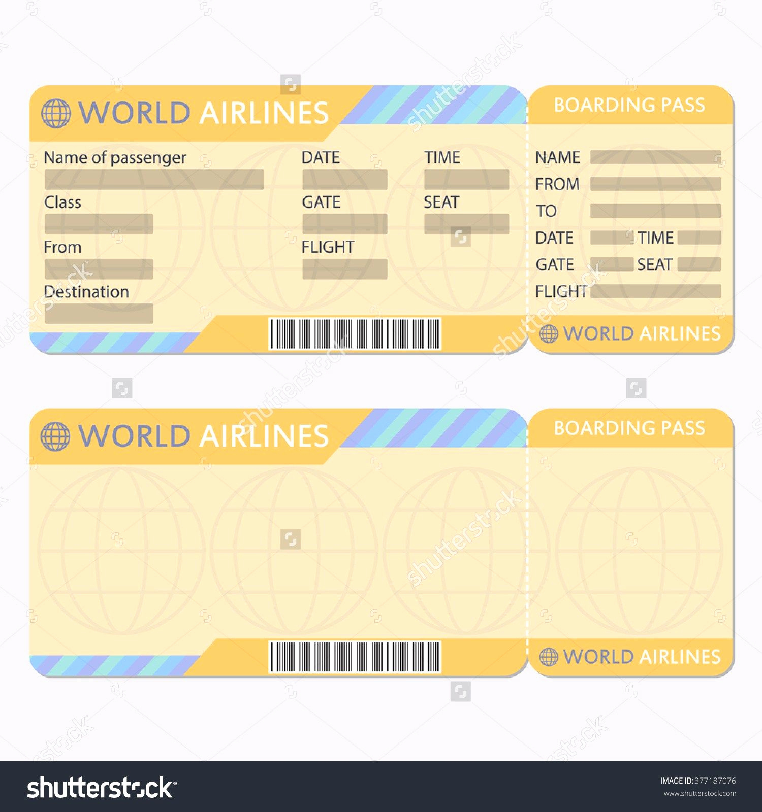 Airline Ticket Invitation Template New Airline or Plane Ticket Template Boarding Pass Blank and