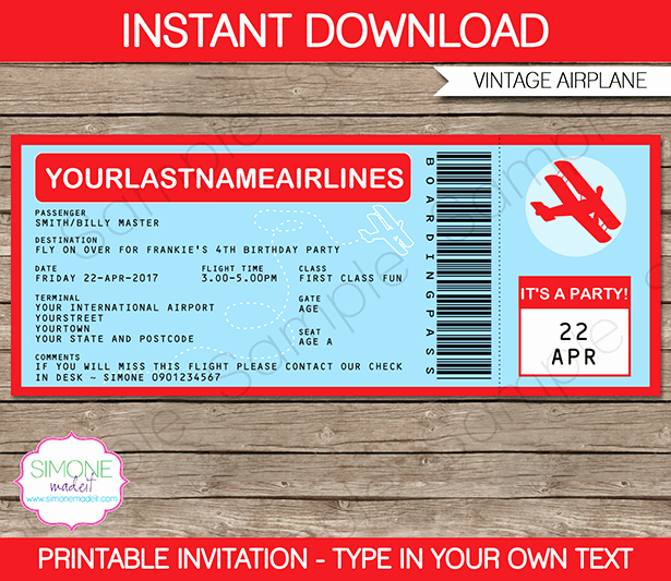 Airline Ticket Invitation Template New Airplane Boarding Pass Invitations Template