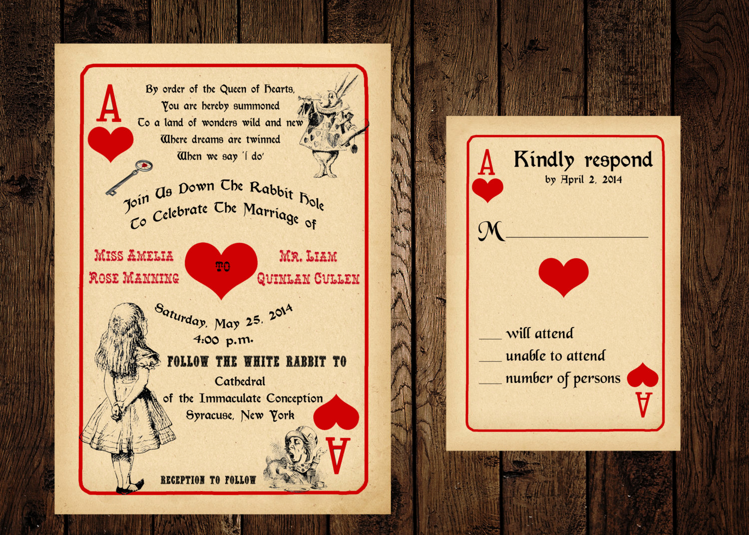 Alice In Wonderland Invitation Awesome Printable Alice In Wonderland Wedding Invitation and Response