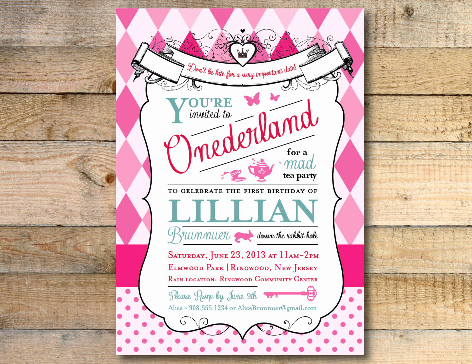 Alice In Wonderland Invitation Beautiful Alice In Wonderland Invitation 1st Birthday Party