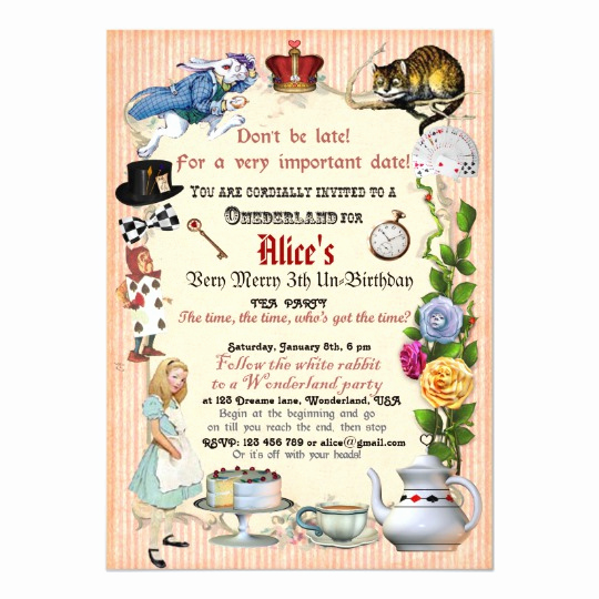 Alice In Wonderland Invitation Best Of Alice In Wonderland Birthday Party Invitation
