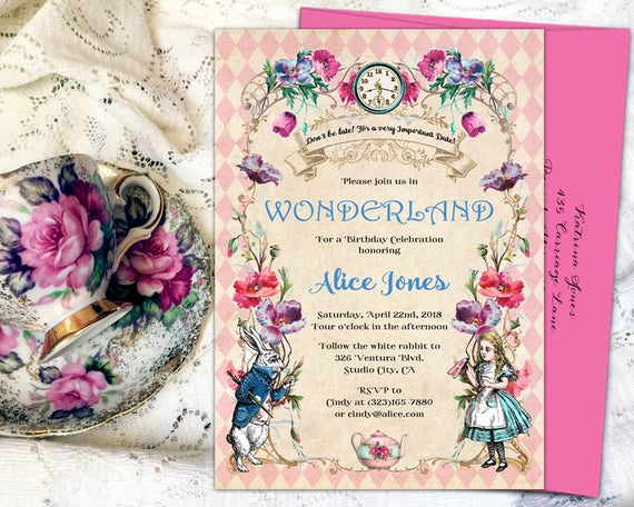 Alice In Wonderland Invitation Elegant Alice In Wonderland Invitation Mad Hatter Tea Party