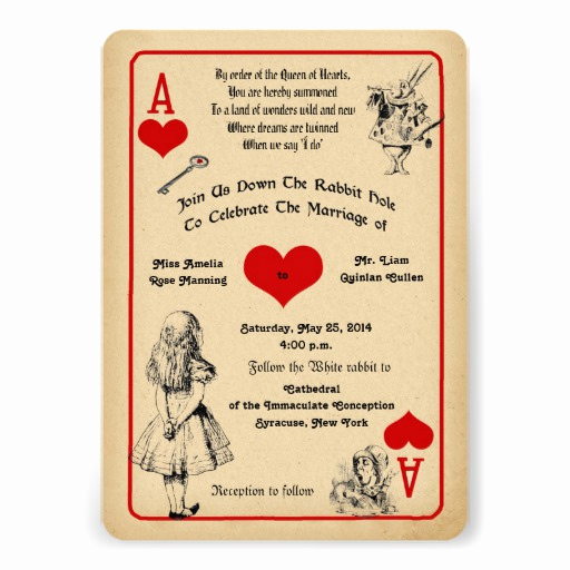 Alice In Wonderland Invitation Ideas Elegant Alice In Wonderland Wedding Invitation