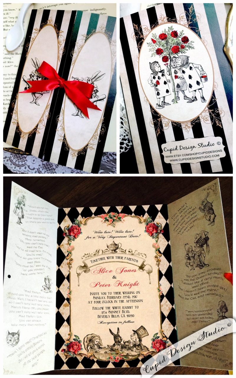 Alice In Wonderland Invitation Ideas Fresh Alice In Wonderland Gatefold Invitations Mad Hatter Tea Party