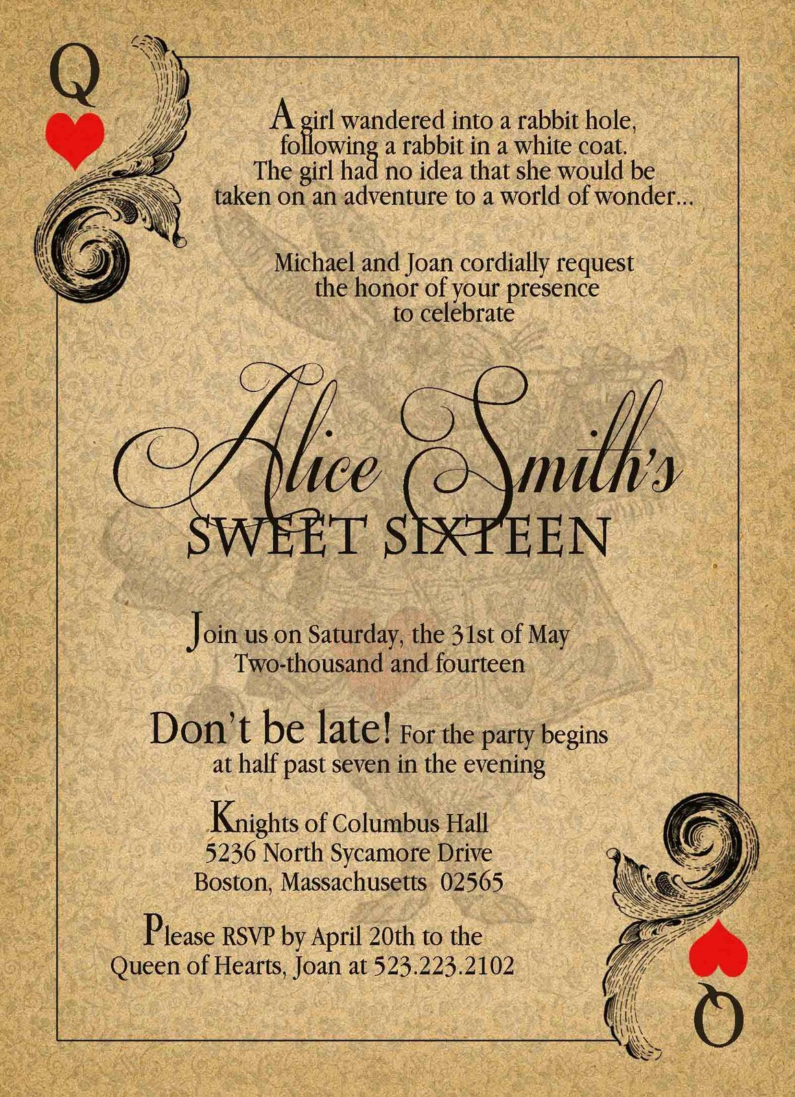 Alice In Wonderland Invitation Ideas Lovely Custom Invitations with Envelopes Price is Per Invitation