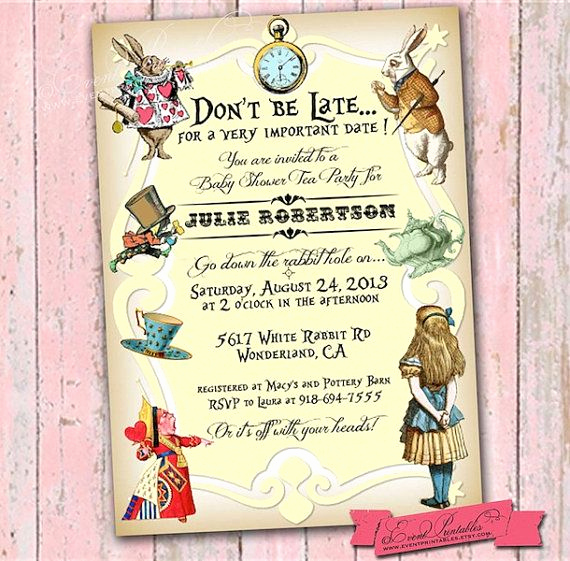 Alice In Wonderland Invitation Ideas Luxury Alice In Wonderland Invitation Printable Alice In