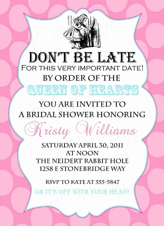 Alice In Wonderland Invitation Ideas New Alice In Wonderland Bridal Invitation Alice In Wonderland
