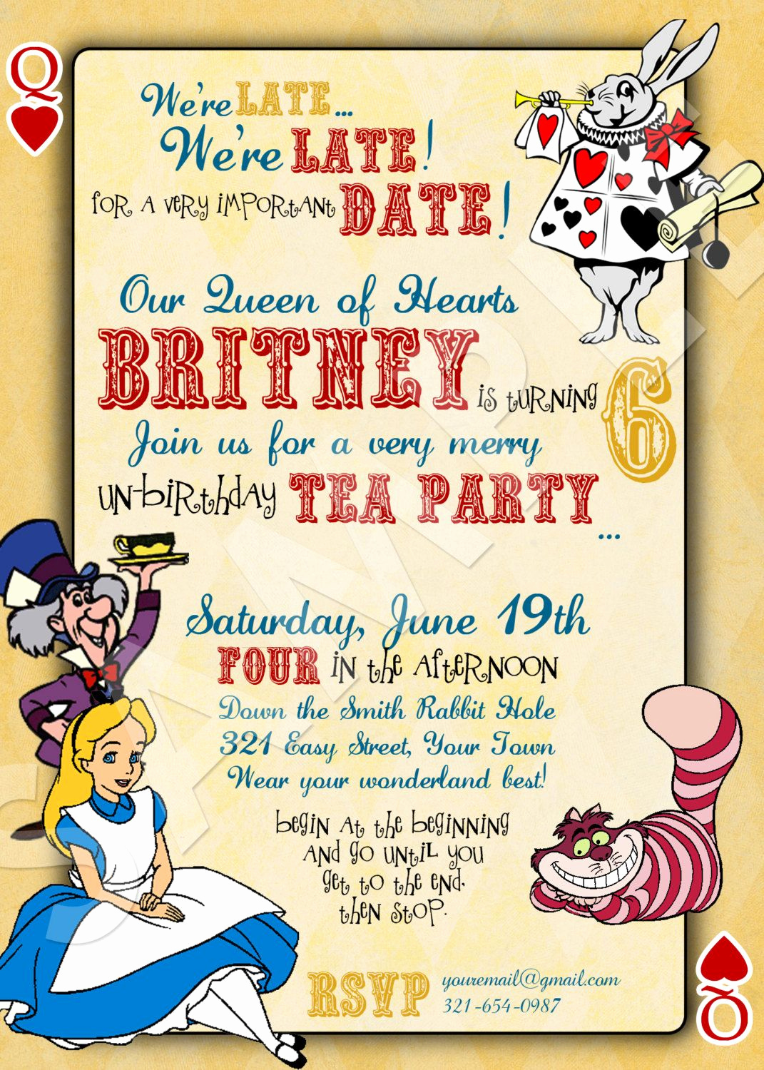 Alice In Wonderland Invitation Ideas Unique Alice In Wonderland Custom Birthday Invitation Digital