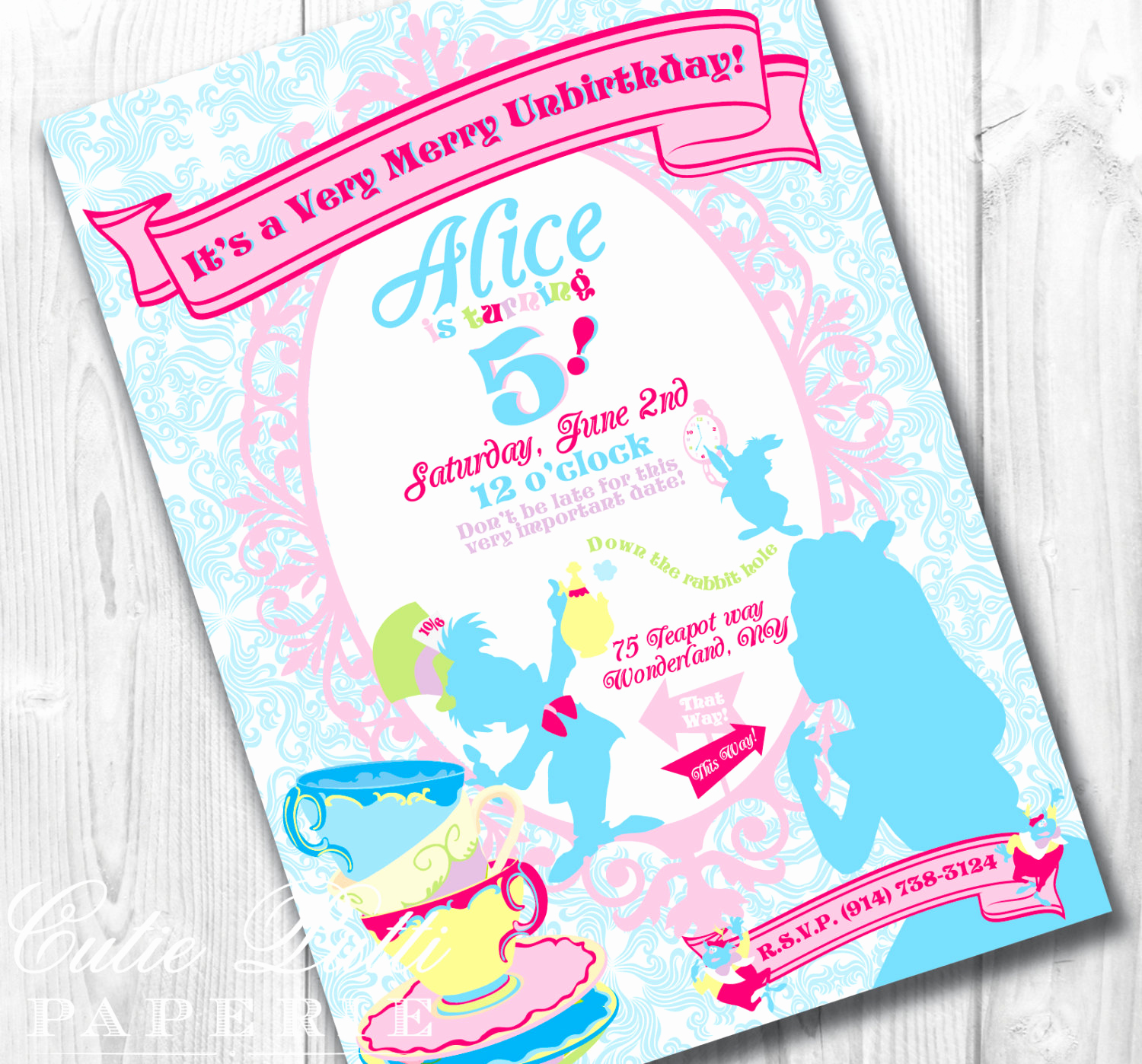 Alice In Wonderland Invitation Inspirational Alice In Wonderland Party Invitations Printable Custom