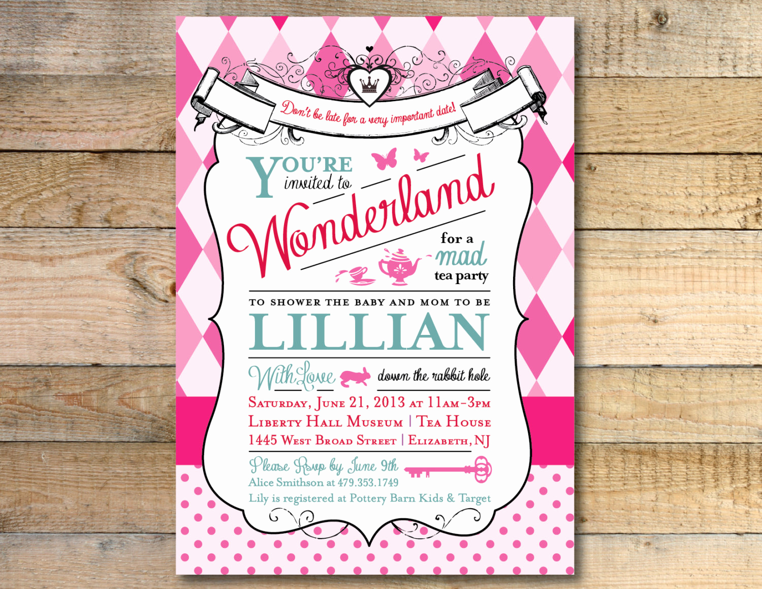 Alice In Wonderland Invitation Lovely Alice In Wonderland Baby Shower Invitation