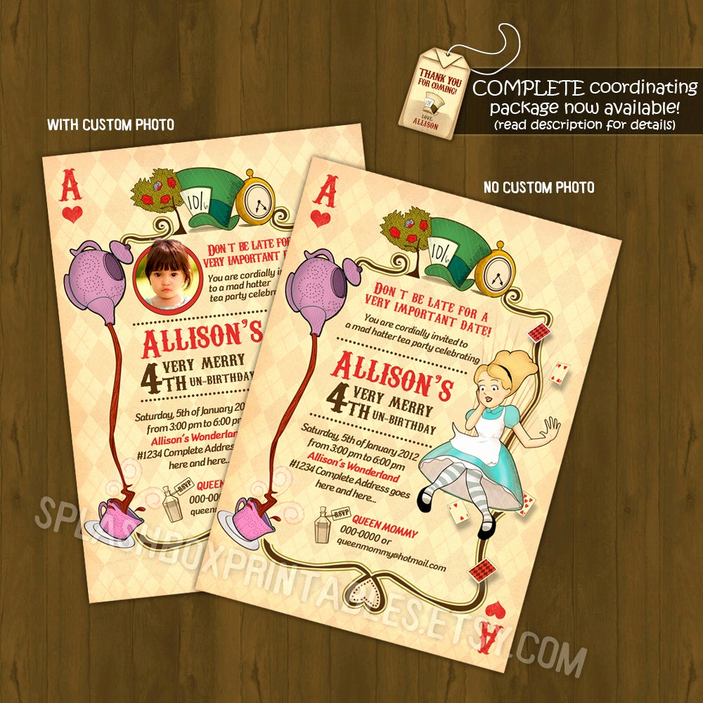 Alice In Wonderland Invitation Lovely Alice In Wonderland Birthday Invitation by Splashboxprintables