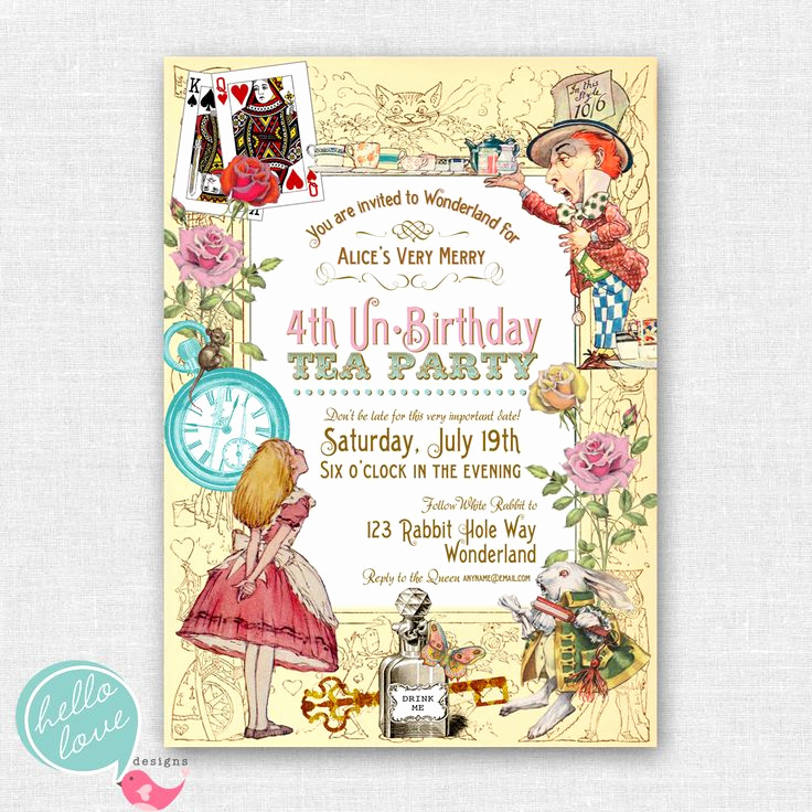 Alice In Wonderland Invitation Lovely Vintage Alice In Wonderland Printable Birthday Invitation
