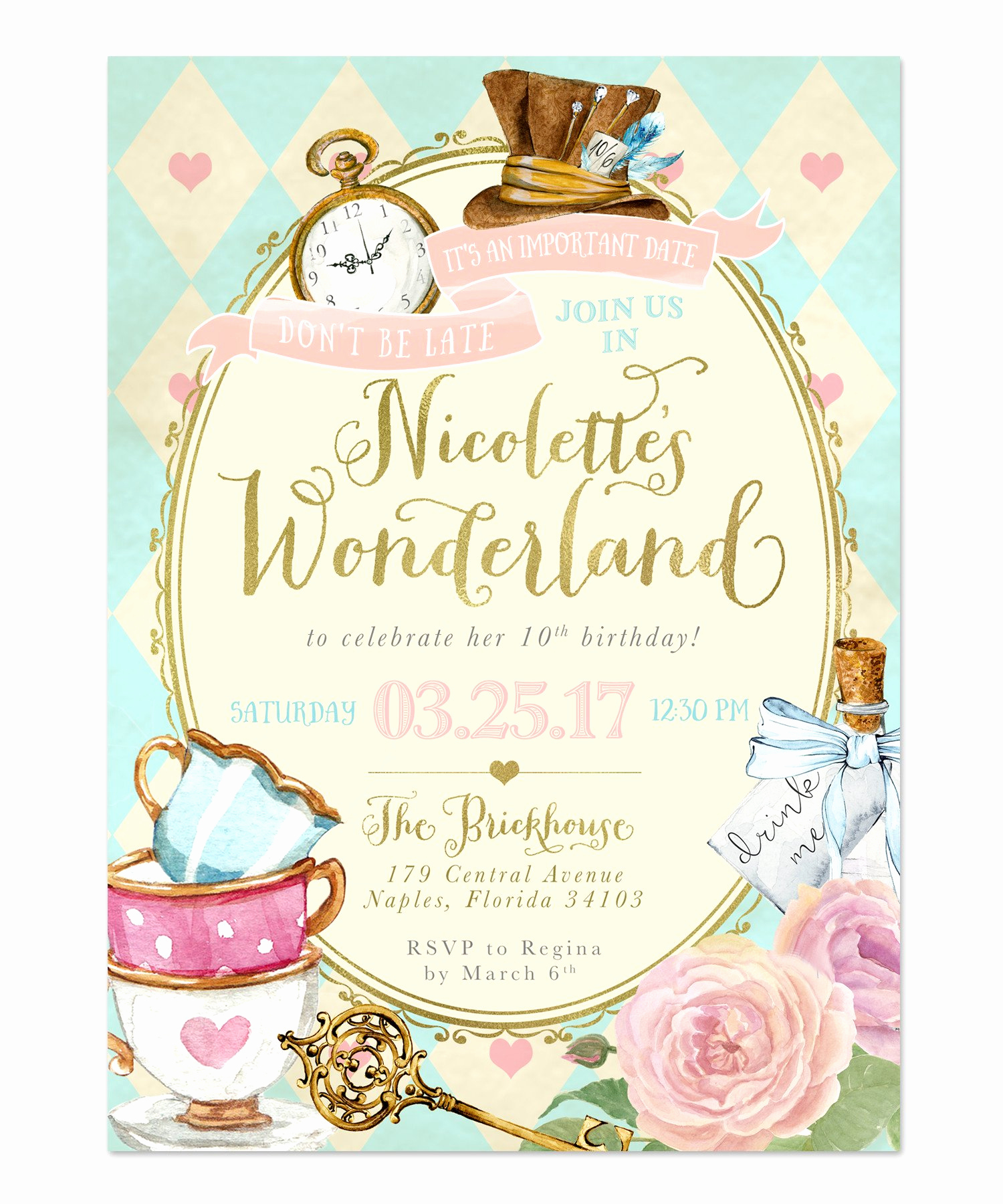 Alice In Wonderland Invitation Luxury Alice In Wonderland Birthday Party Invitation Girls