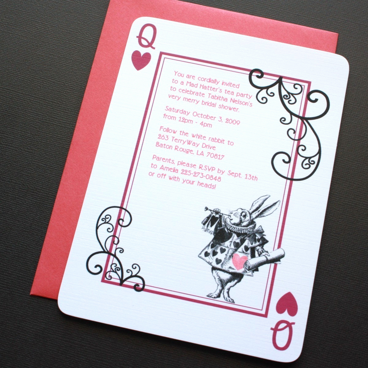 Alice In Wonderland Invitation New Alice In Wonderland Rabbit Invitations by Vivalaviolette
