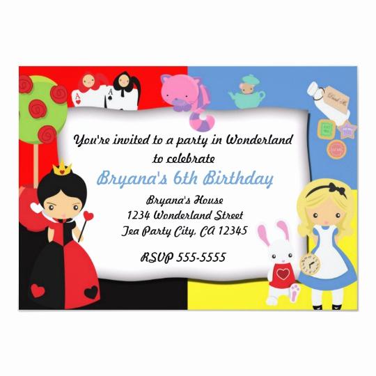 Alice In Wonderland Invitation Template Awesome Alice In Wonderland Birthday Party Invitation