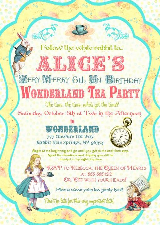 Alice In Wonderland Invitation Template Awesome Alice In Wonderland Invitation Template Free