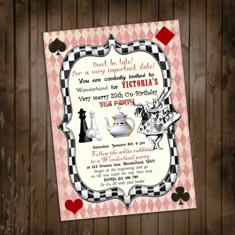 Alice In Wonderland Invitation Template Beautiful Alice In Wonderland Invitation Vintage Birthday Tea Party