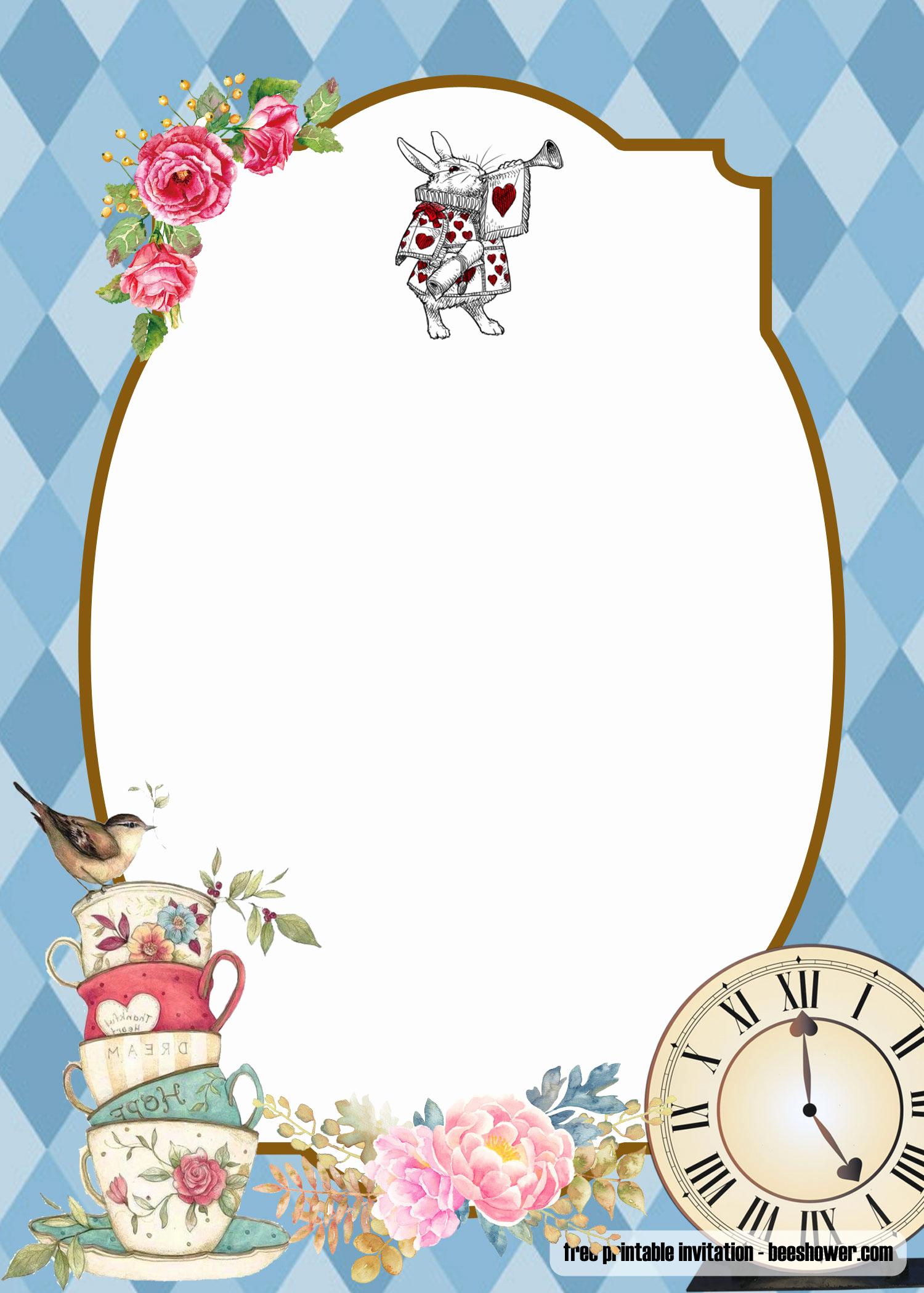 Alice In Wonderland Invitation Template Beautiful Free Alice In Wonderland Baby Shower Invitations Templates