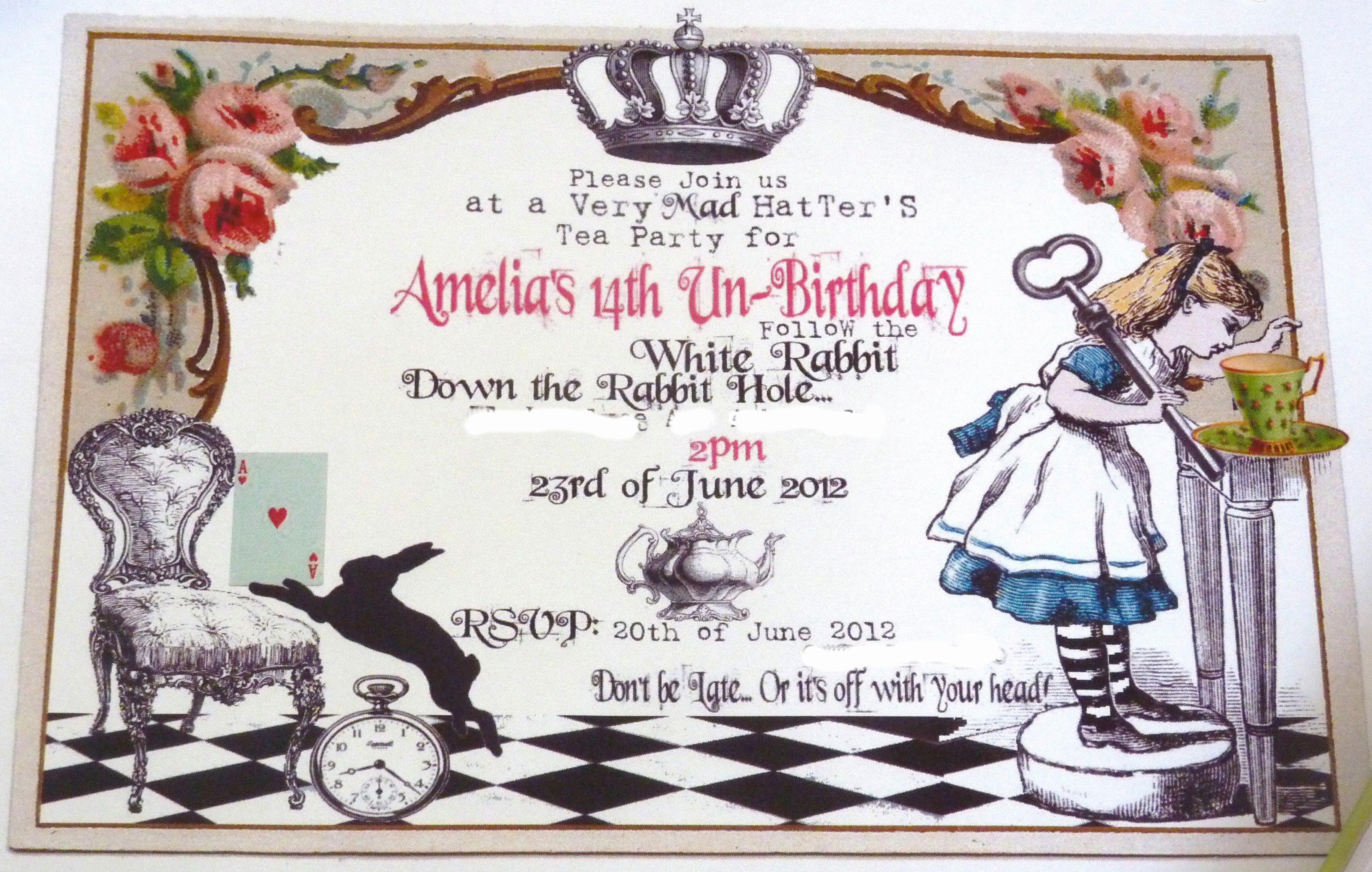 Alice In Wonderland Invitation Template Elegant Alice In Wonderland Birthday Invitations