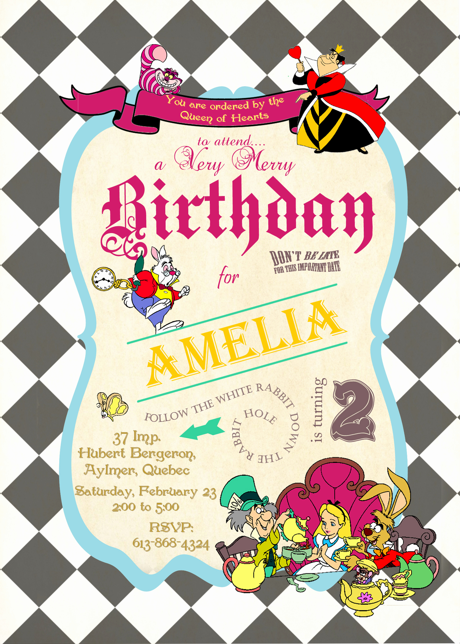 Alice In Wonderland Invitation Template Inspirational Alice In Wonderland Birthday Invitations