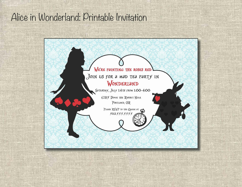 Alice In Wonderland Invitation Template Inspirational Alice In Wonderland Printable by Printablepartiesinc On Etsy