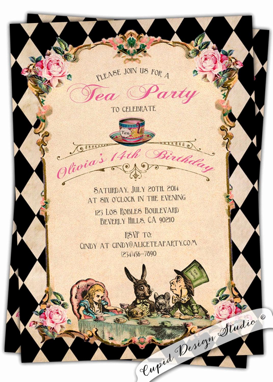 Alice In Wonderland Invitation Template Lovely Alice In Wonderland Birthday Invitation Baby by Cupiddesigns