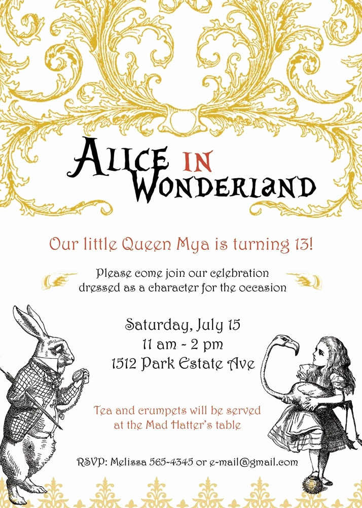 Alice In Wonderland Invitation Template Lovely Unavailable Listing On Etsy