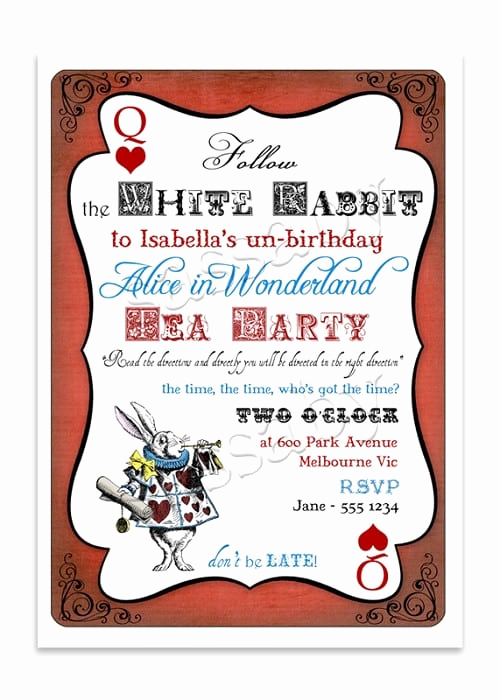 Alice In Wonderland Invitation Template Luxury Alice In Wonderland Invitation Template Free