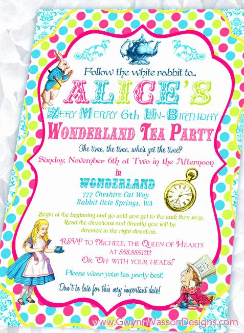 Alice In Wonderland Invitation Template Luxury Free Printable Alice In Wonderland Birthday Invitations