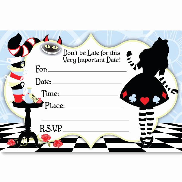 Alice In Wonderland Invitation Template Unique Alice In Wonderland Birthday Invitations – Free Printable