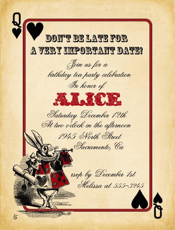Alice In Wonderland Invitation Template Unique Playing Card Alice In Wonderland Invitation Bridal Shower