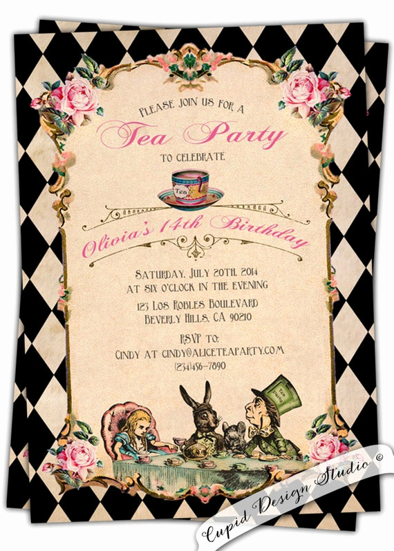 Alice In Wonderland Invitation Templates Awesome Alice In Wonderland Birthday Invitation Baby by Cupiddesigns
