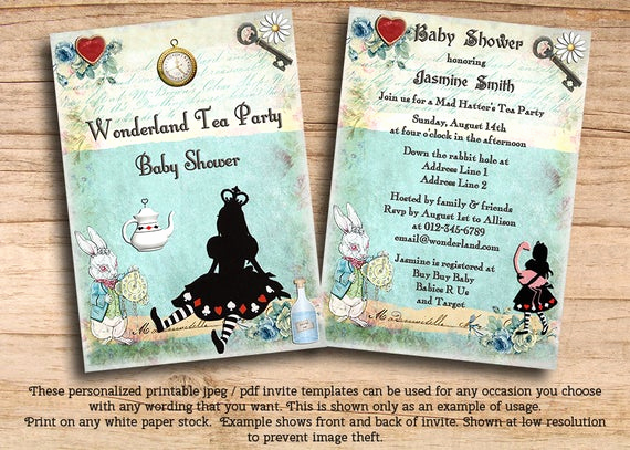 Alice In Wonderland Invitation Templates Elegant Items Similar to Printable Princess Alice In Wonderland