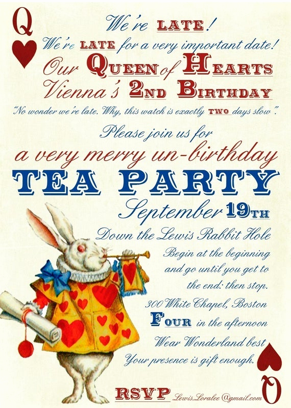 Alice In Wonderland Invitation Templates Fresh Alice In Wonderland Un Birthday Tea Party Invitations Digital