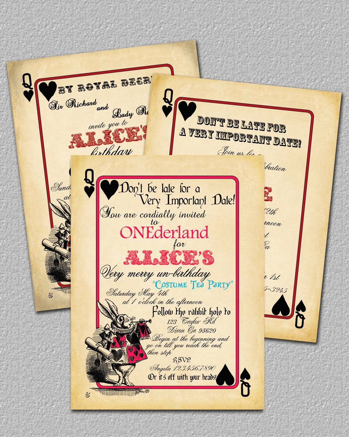Alice In Wonderland Invitation Templates Inspirational Playing Card Alice In Wonderland Invitation by