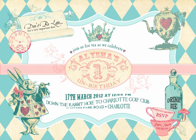 Alice In Wonderland Invitation Templates Lovely New Alice In Wonderland Inspired Invitation & Collection